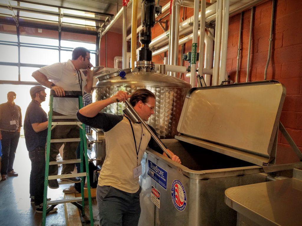 Stirring malted barley