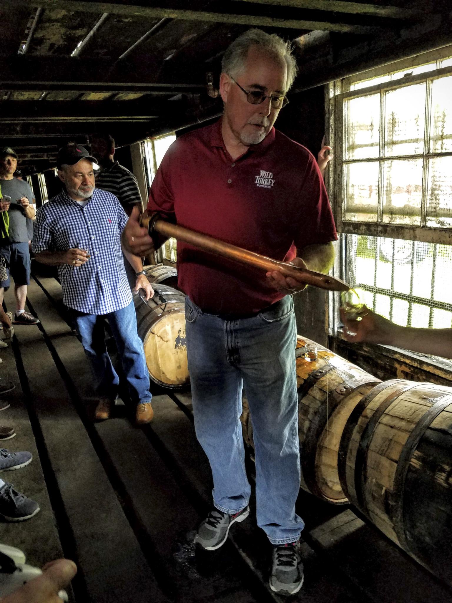 Eddie pouring barrel samples
