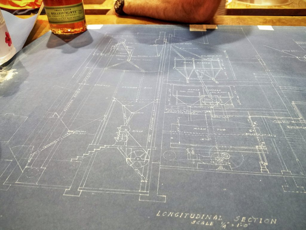 Before touring the shuttered Stitzel-Weller distillery, we saw the original blueprints for the facility.