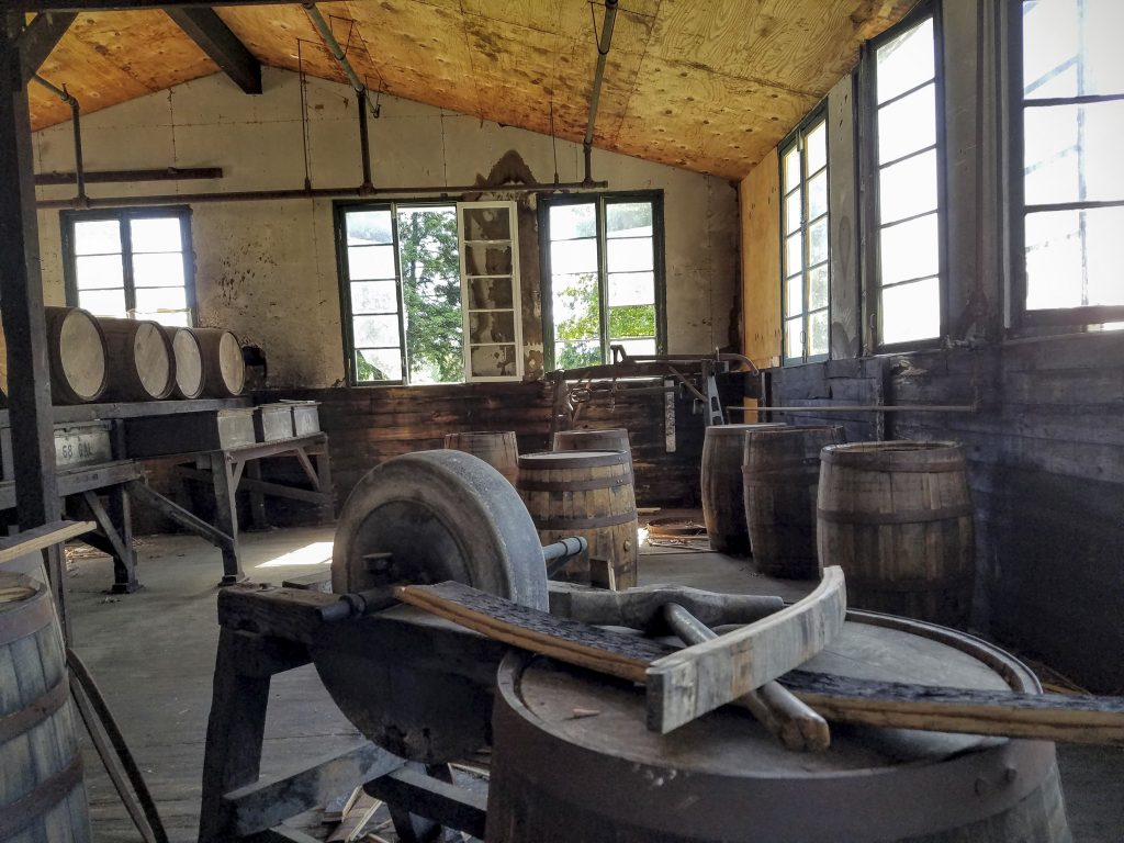 The cooperage on site was used to repair leaky barrels.