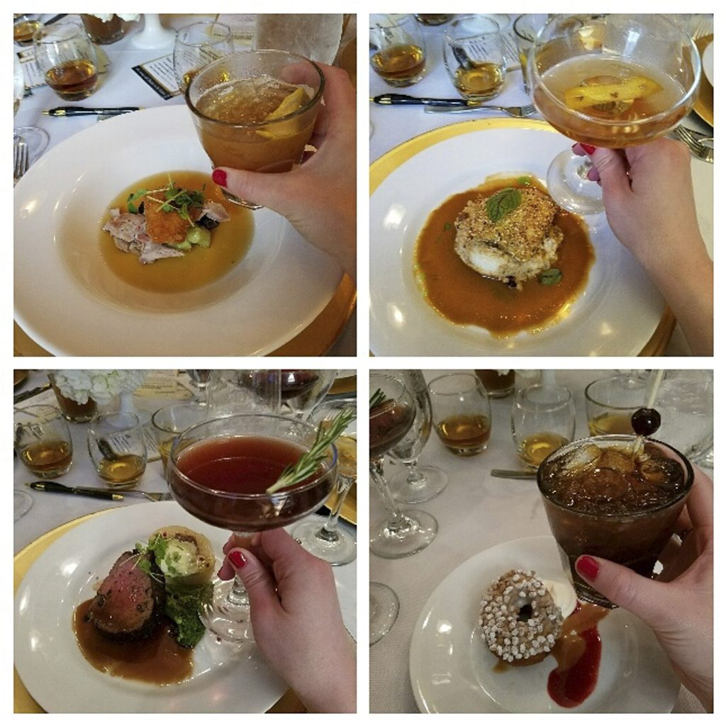 Our delicious four course dinner.  Clockwise starting from upper left:  rabbit with cocktail by Hub Louisville, carp with cocktail by Meta, steak with cocktail by Proof on Main, cake donut with cocktail by Down One Bourbon Bar.