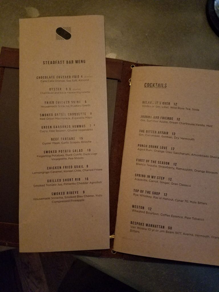 Steadfast's bar menu and cocktail list