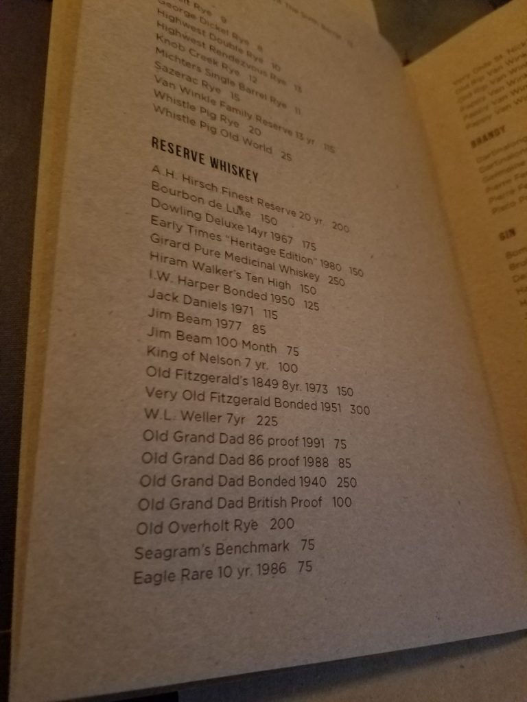 A closer look at the reserve whiskey list