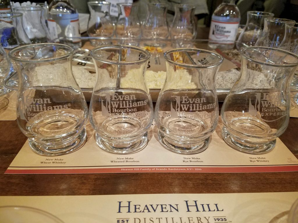 Tasting new make from 4 different mash bills: wheat whiskey, wheated bourbon, high rye bourbon, rye whiskey.