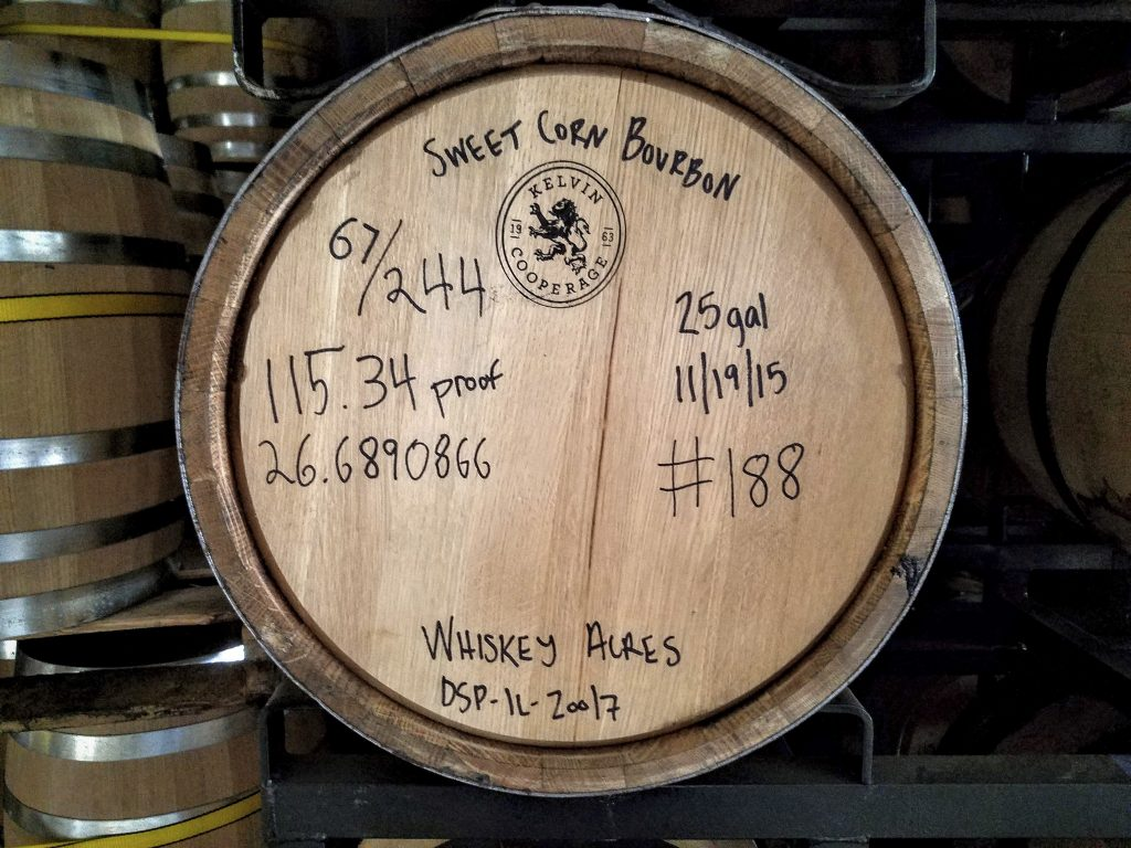 A sweet corn bourbon barrel with a 115.34 entry proof.
