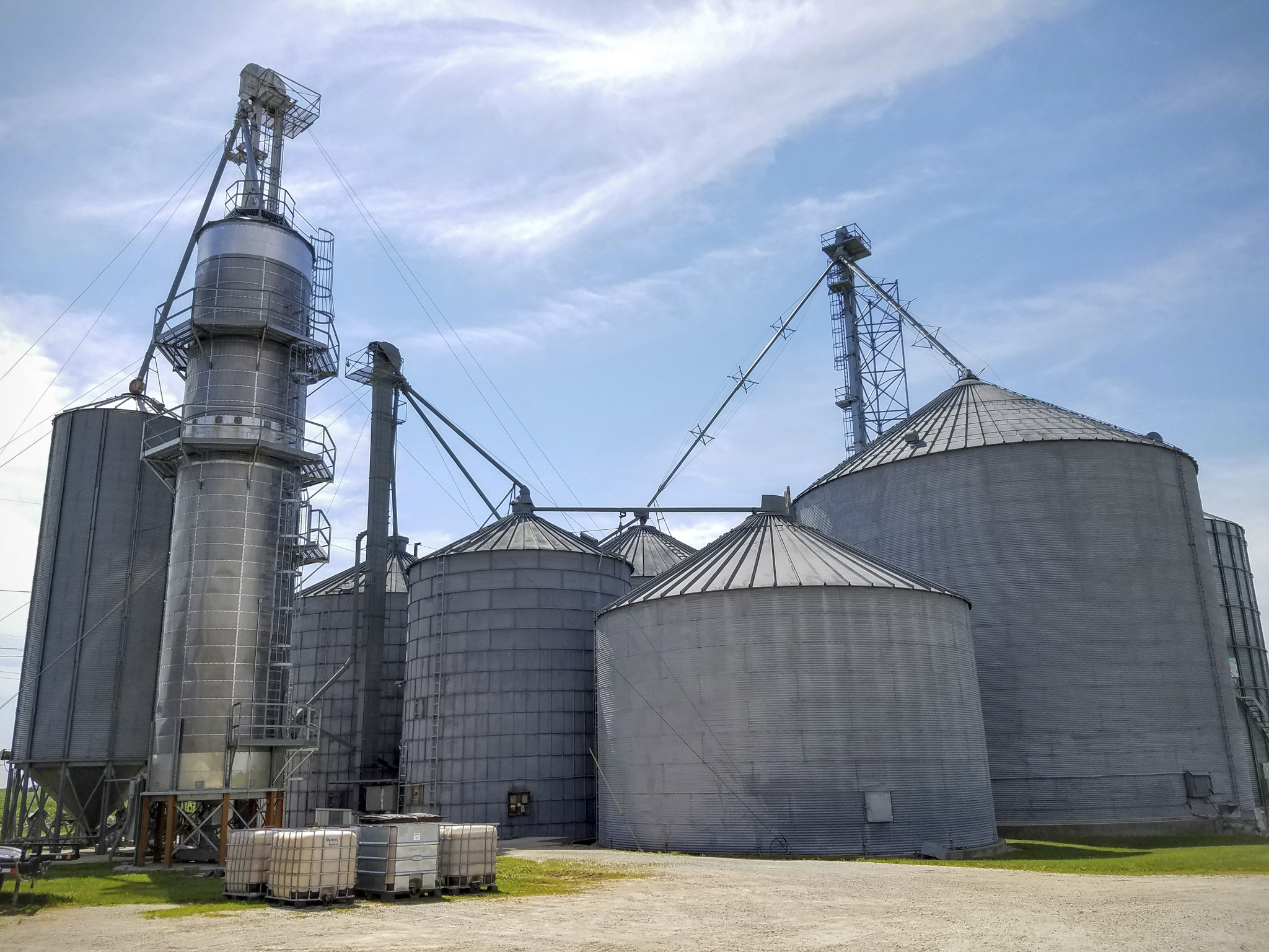 Specially designated grain storage tanks for the whiskey corn. Used to store at the proper humidity. They can store a total of about 400k bushells.