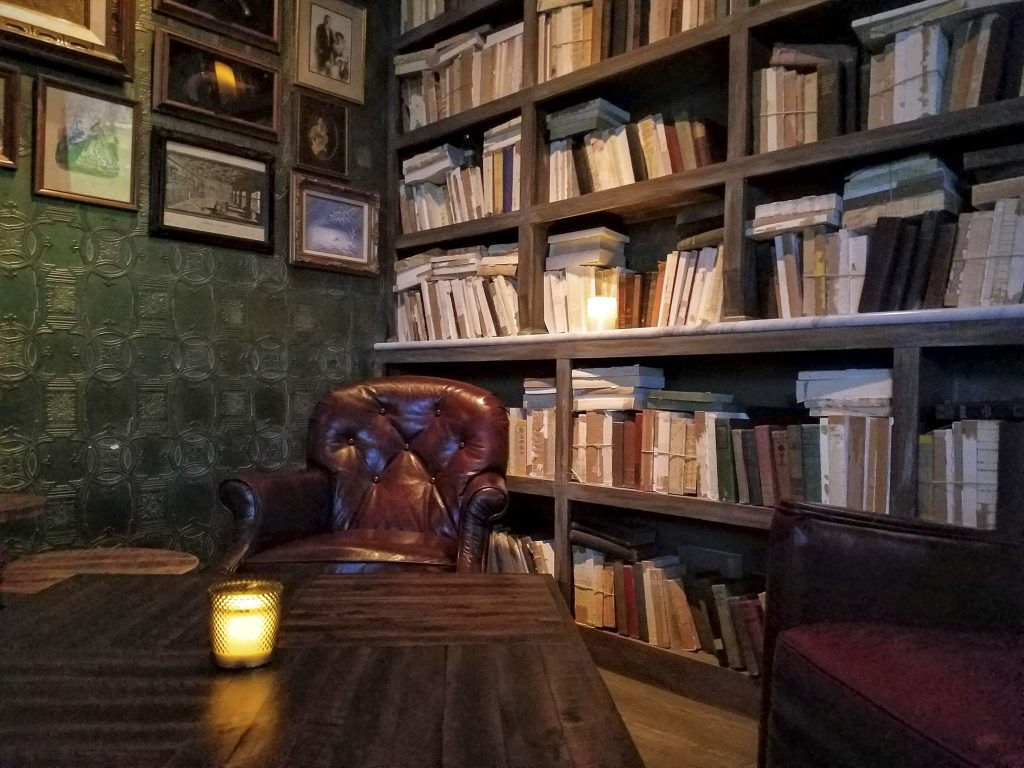 A cozy nook in the 'library'. The perfect place to enjoy a pour of your favorite whiskey.