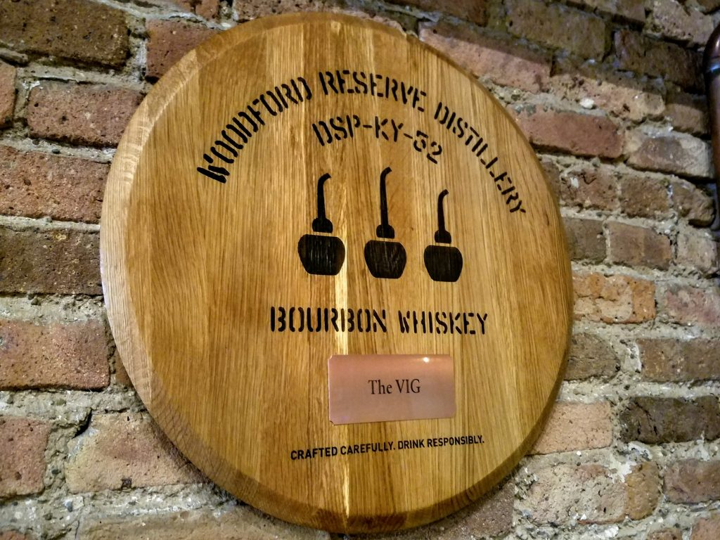 A Woodford barrel head from one of the two barrels they chose
