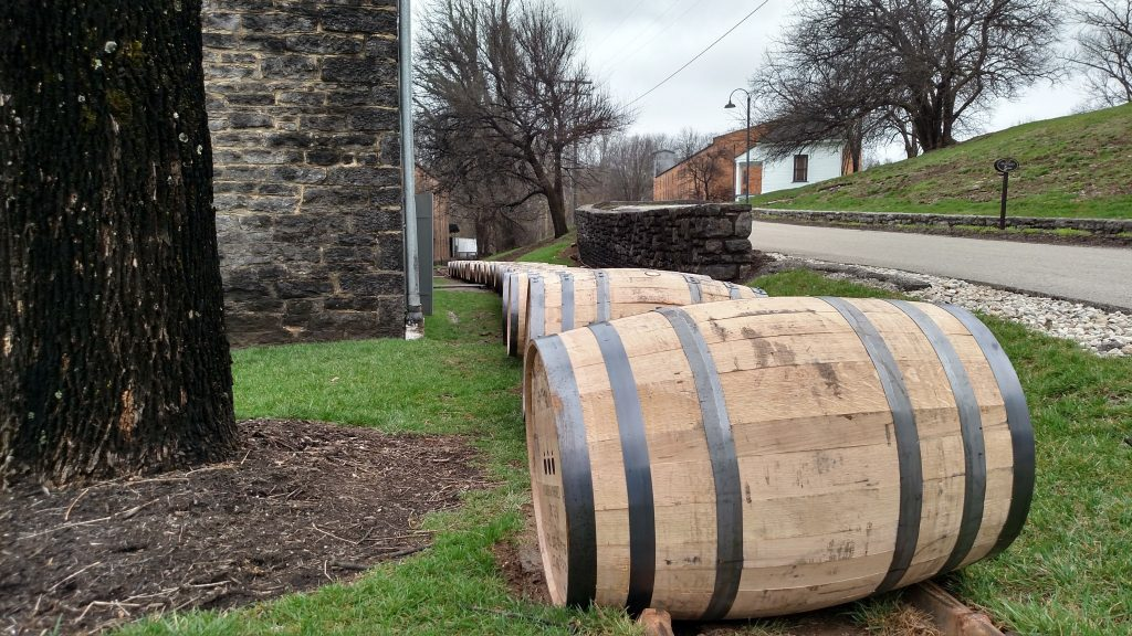 Freshly filled barrels on their way to the rickhouse