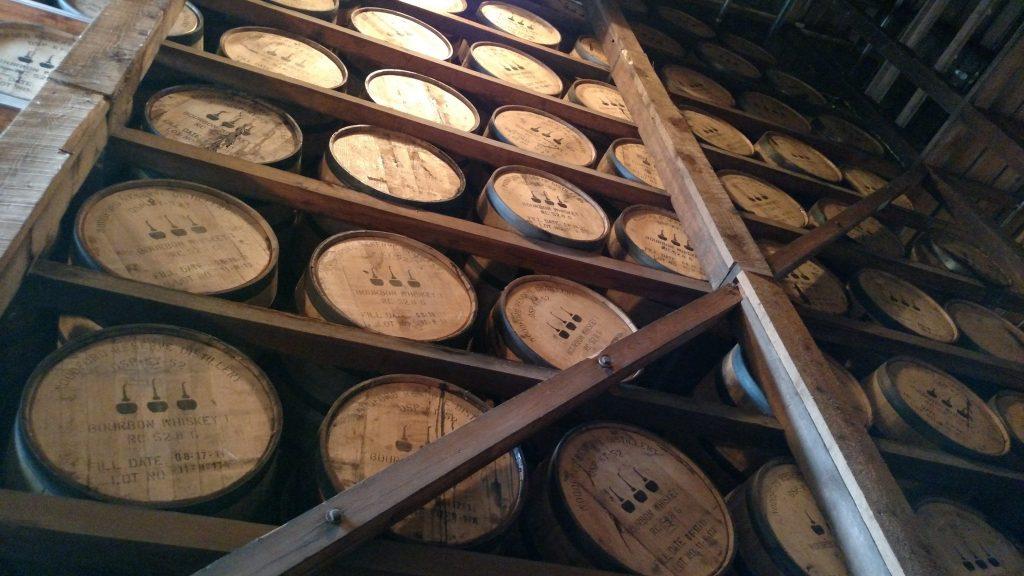 A wall of barrels aging gracefully