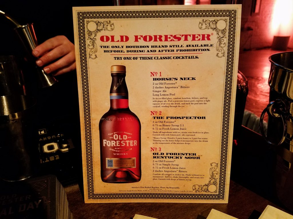 Three Old Forester created cocktails available at the Old Forester booth.