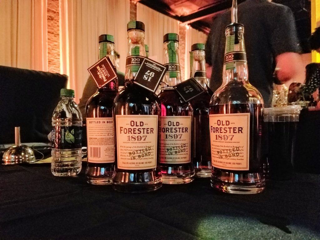 A lineup of Old Forester 1920 Prohibition Style bottles.