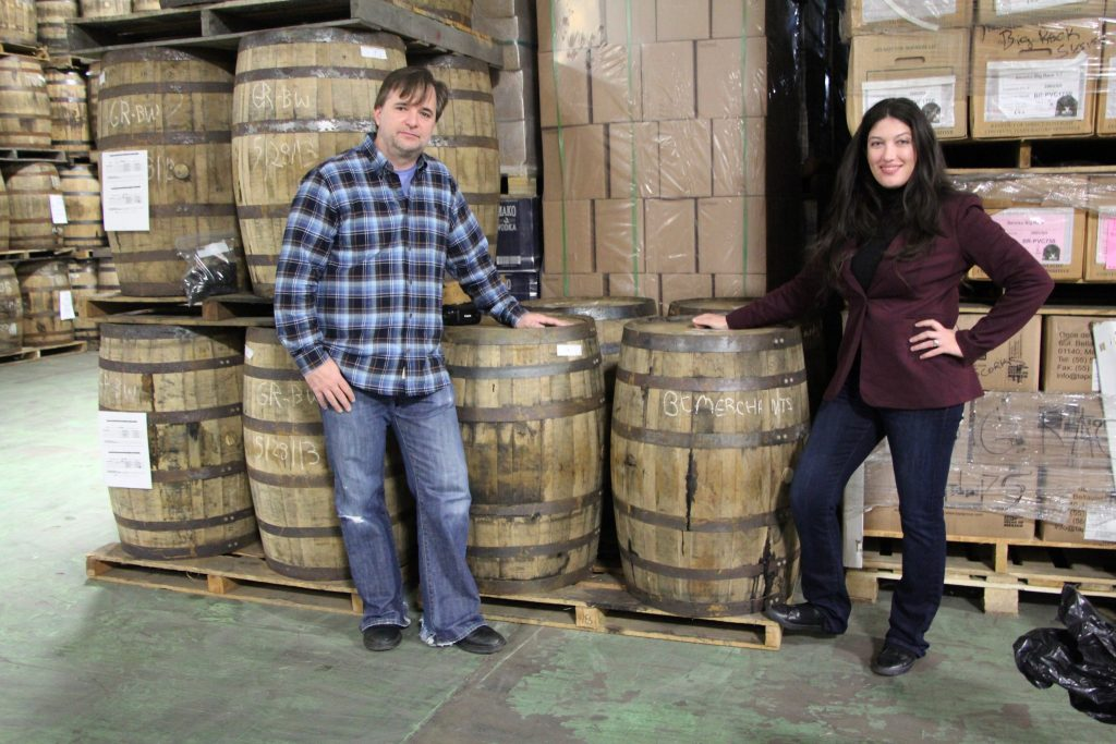 Brian and his wife showing off their barrel picks.