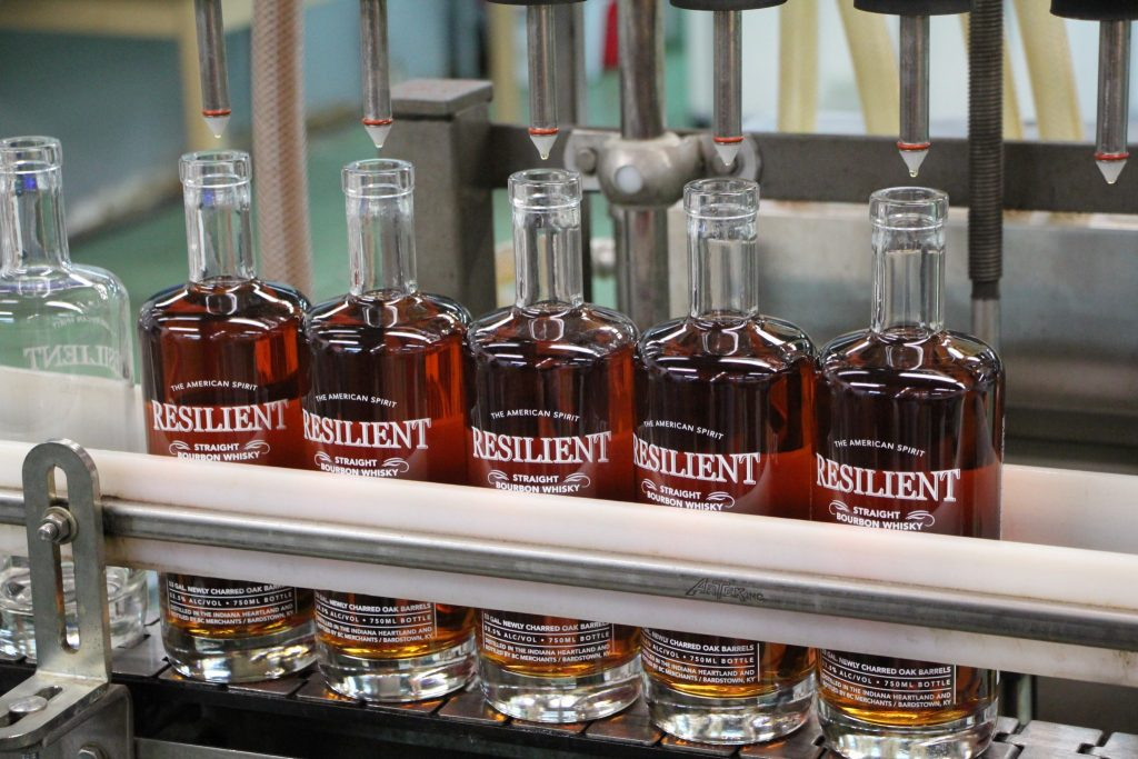 Resilient bottles coming down the bottling line.