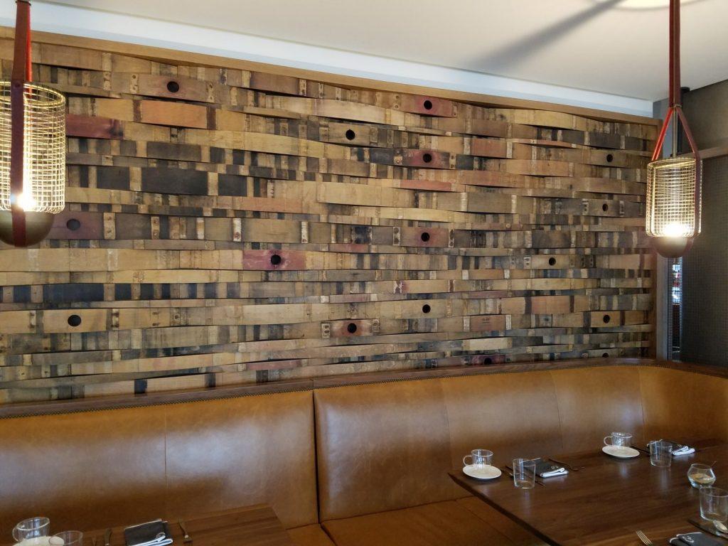 Bourbon barrel stave wall.