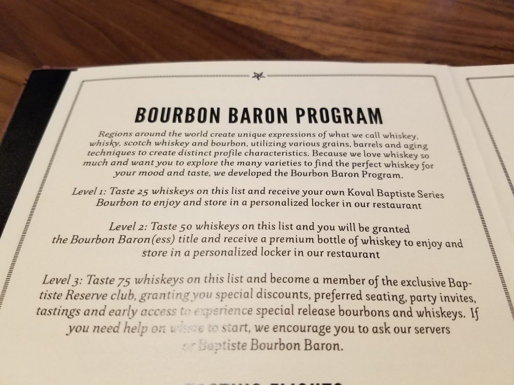 Bourbon Baron Program details.