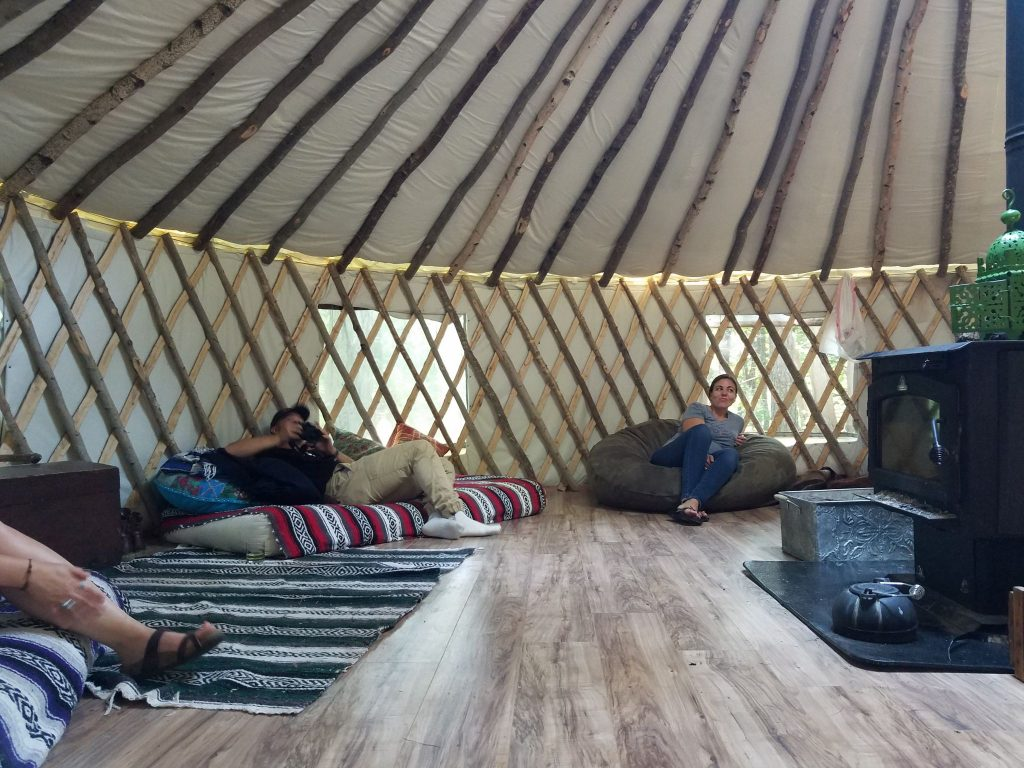 Hanging out in the yurt
