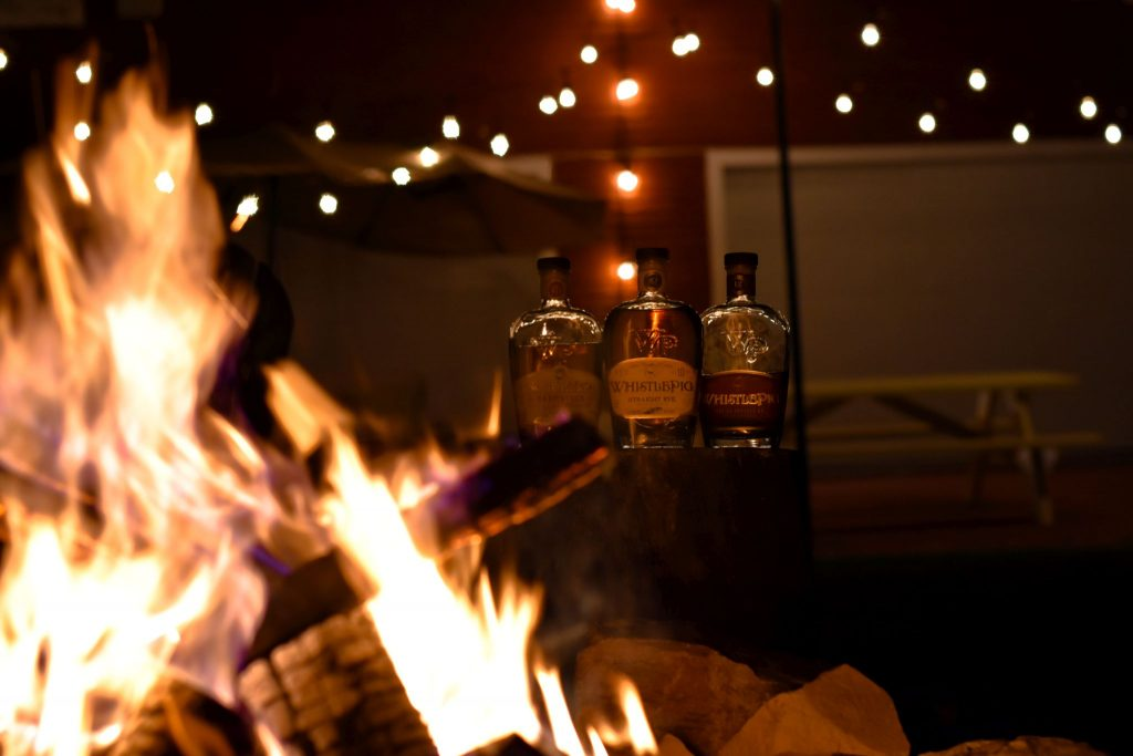 Sipping whiskey by the fire