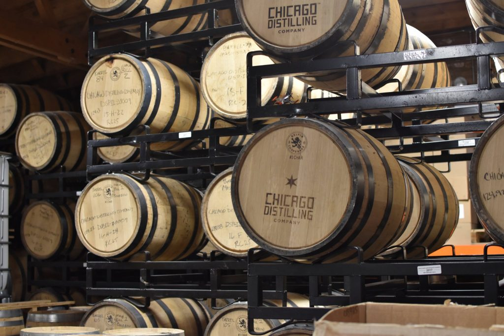 Barrels resting at Chicago Distilling Co