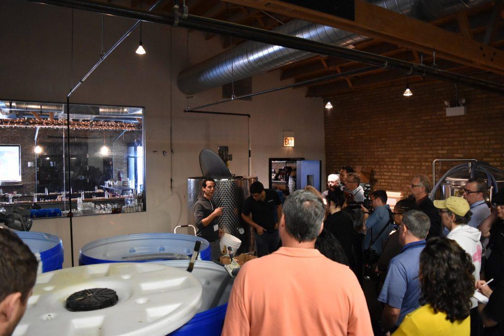 Jay DiPrizio, Co-founder Chicago Distilling, explaining the fermentation process