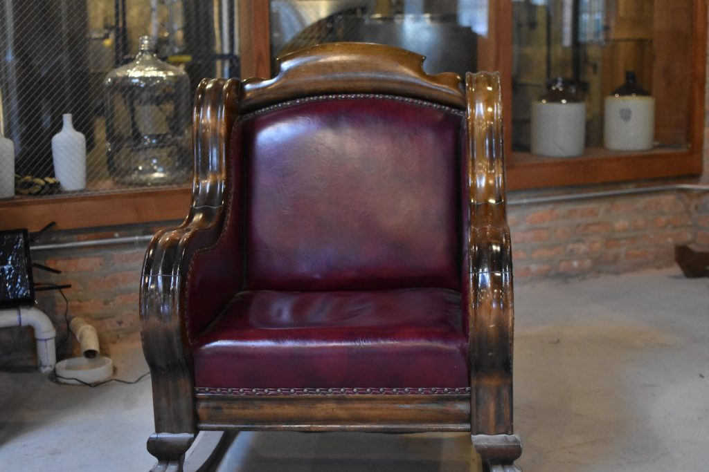Ralph Capone's leather chair sits in the new distillery