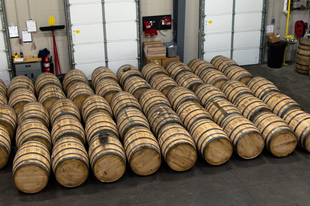 Big barrels waiting their turn in the fill room